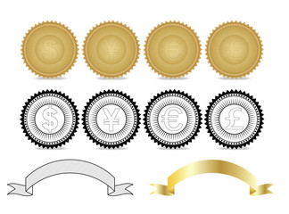 gold and vector badge with various currency symbol.