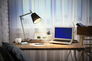 Modern workplace on light background