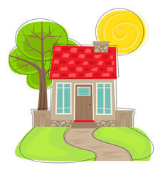 Cute House With Tree - Stylized cartoon house with front lawn, pathway, and tree in the back. Eps10