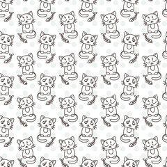 Seamless pattern of cute cat characters. Fishbone.