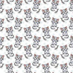 Seamless pattern of cute cat characters. Fishbone.