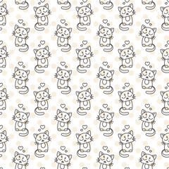 Seamless pattern of cute cat characters. Pet in love.