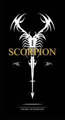 scorpion in black and white. scorpion with the arrow tail. stylized scorpion combine with text.labelled scorpion.Suitable for your product identity, emblem, illustration for automotive, apparel, etc.
