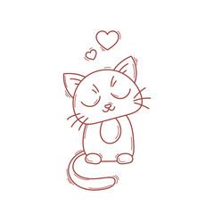 Cute cat character. Satisfied fed kitten.