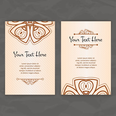 Set of vector design templates. Business card with floral circle ornament. Mandala style.