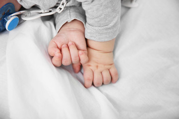 Little baby's hands, close up