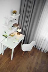 Modern room interior. Stylish workplace.