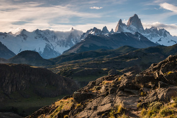 Cerro Torre and Fitz Roy panorama in Southern Patagonia