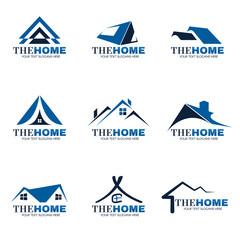 Blue and gray Home logo set vector design
