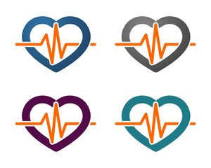 Heart Pulse Line Health Care Logo
