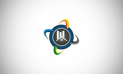 globe round earth building logo