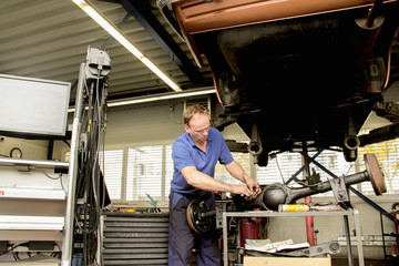 Mechanic repairing car in workshop