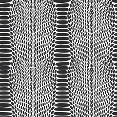 Snake skin texture. Seamless pattern black on white background.
