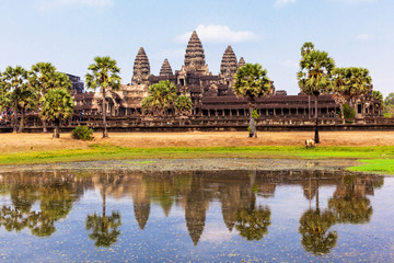 Angkor Wat and relfection on the lake in Siem Reap, Cambodia