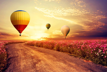 Fototapete - Landscape of beautiful cosmos flower field and hot air balloon on sky sunset, vintage and retro filter effect style
