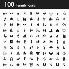 Set of one hundred family icon