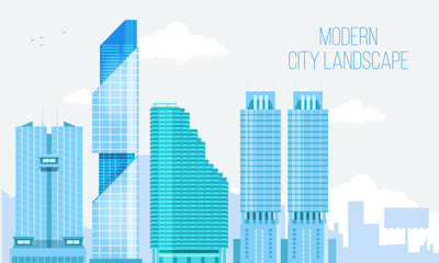 Modern City View Skyscraper Cityscape Background with with Clear Blue Sky and Copy Space. Vector Illustration