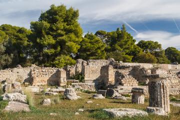 Ruins of the ancient town of Epidaurus, Peloponnese, Greece