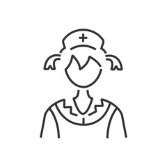 line icon woman nurse icon, old clothe style