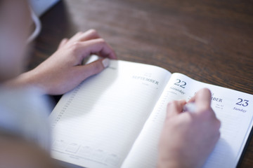 Close up of female writing in diary