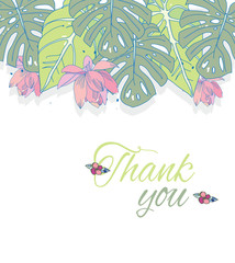 the picture tropical plants,leaves of various shapes with pink flowers and the words thank you