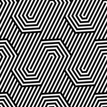 Vector seamless texture. Geometric abstract background. Monochrome repeating pattern of broken lines.
