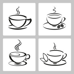 Vector set of cups icon for tea and coffee.