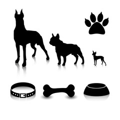 Vector set of dogs silhouettes  of different sizes and subjects. Feeder, bone, collar and a trace of foot.