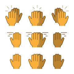 Vector set flat icons high five. Modern symbol line high five. Linear friendly high five.