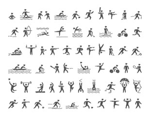 Vector sports icons set. Hatching shapes athletes.