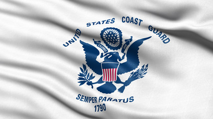 US Coast Guard flag waving in the wind