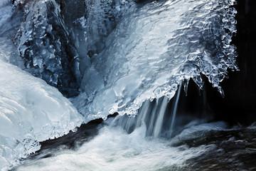 Frozen creek on winter