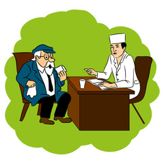 The doctor advises grandfather cure for the disease, vector cartoon doodle illustration.