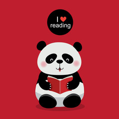 Cute panda reading a book on red background