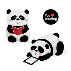 Two cute pandas with reading concept