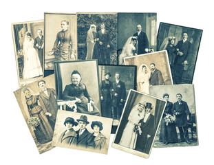 Vintage family and wedding photos. Retro toned