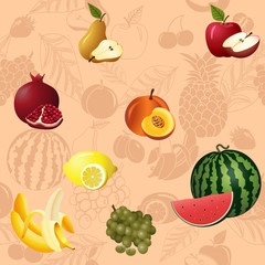 seamless pattern fruits and berries