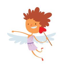 Baby cupid angel wings box with wedding ring cartoon vector.