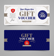 Gift voucher template with glitter silver, Vector illustration, Design for  invitation, certificate, gift coupon, ticket, voucher, diploma etc.