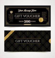 Gift voucher template with glitter gold, Vector illustration, Design for  invitation, certificate, gift coupon, ticket, voucher, diploma etc.
