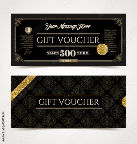 Gift voucher template with glitter gold, Vector illustration, Design ...