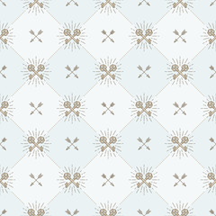 Vector seamless background with crossed vintage keys and arrows - pattern for wallpaper, wrapping paper, book flyleaf, envelope inside, etc..