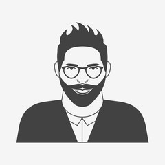 Hipster character. Young man with glasses and beard monochrome icon. Vector illustration.