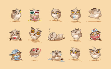 Wall Murals Owls cartoon Set of Owls