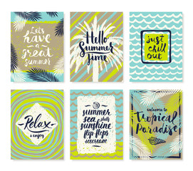Set of summer holidays and tropical vacation hand drawn posters or greeting card with handwritten calligraphy quotes, phrase and words. Vector illustration.