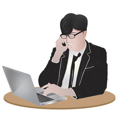 vector image of businessman using laptop and talking on cellphone