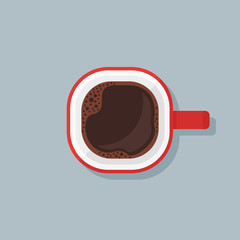 Red cup with black coffee. Top view. Vector illustration