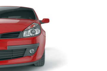 Samll car mock up on white background, 3D illustration