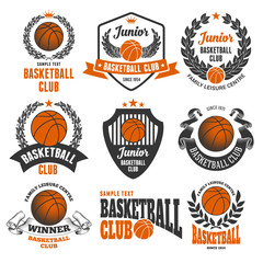Set of Emblems, Logos and Labels on Basketball Theme and for Basketball Club. Colored Vector Illustration. Isolated on White Background.