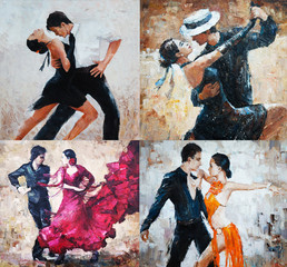 tango dancers, oil painting, 4 IN 1